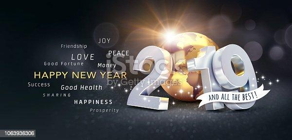 istock Happy New Year 2019 Greeting Card 1063936306