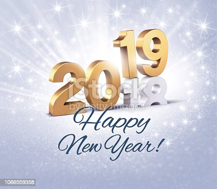 istock Happy New Year 2019 greeting card 1066559358