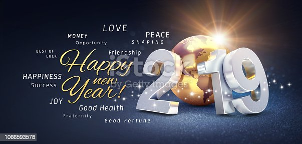 istock Happy New Year 2019 Greeting Card 1066593578