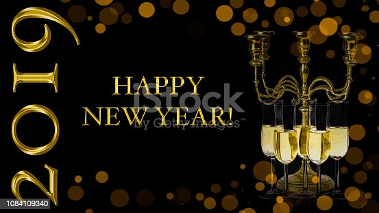 1049972562 istock photo Happy New Year 2019 greeting card. 1084109340