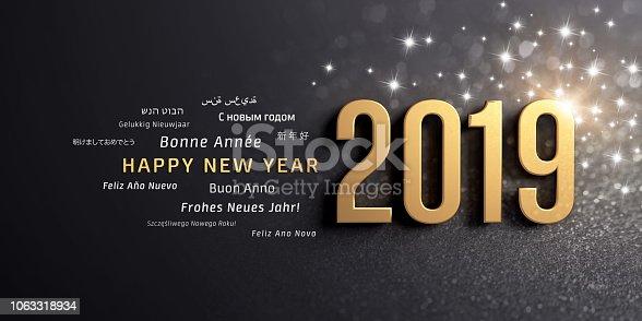 istock Happy New Year 2019 international Greeting card 1063318934