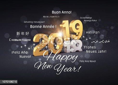 istock Happy New Year 2019 international Greeting card 1070106210