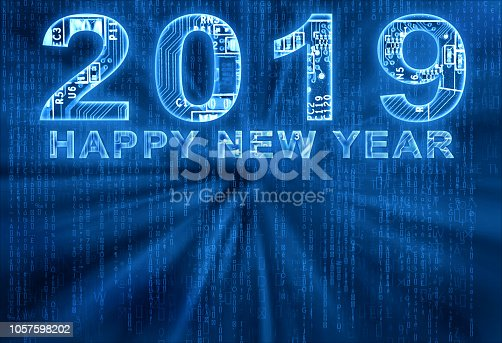 istock Happy new year 2019 on digital background 1057598202