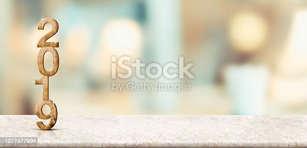 1080262636 istock photo Happy new year 2019 on marble table with pale soft bokeh wall,banner for display or montage of product for holiday promotion and advertise for online content 1077477994
