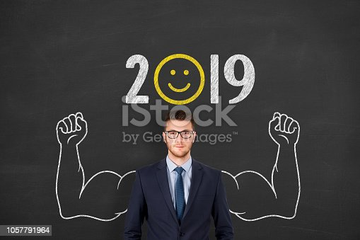 1069595584 istock photo Happy New Year 2019 over Human Head 1057791964