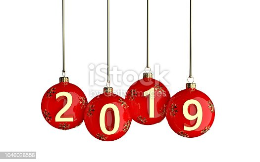 istock Happy new year 2019 red ball 1046026556