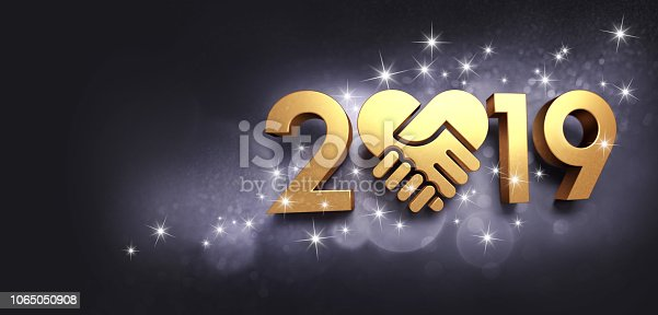 istock Happy New Year 2019 symbol for greeting card 1065050908