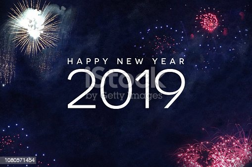 1070880528 istock photo Happy New Year 2019 Text with Fireworks in Night Sky 1080571454