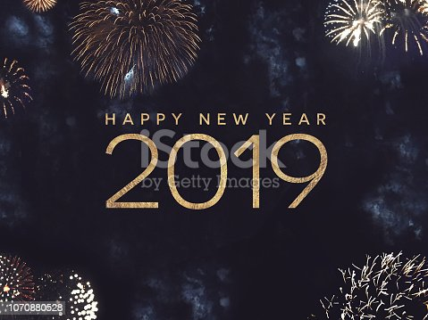 1049836902 istock photo Happy New Year 2019 Text with Gold Fireworks in Night Sky 1070880528