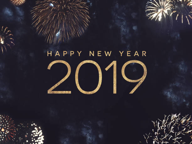 Happy New Year 2019 Text with Gold Fireworks in Night Sky Happy New Year 2019 Celebration Text with Festive Gold Fireworks Collage in Night Sky new year's eve stock pictures, royalty-free photos & images
