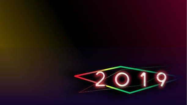 happy new year 2019 visual colorful neon glowing ligth text and number with blurry gradient blackground illustations - vectors stock pictures, royalty-free photos & images
