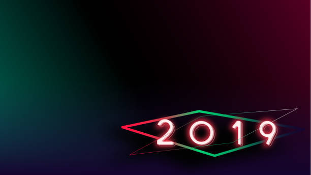 Happy new year 2019 Visual colorful neon glowing ligth text and number with blurry gradient blackground illustations stock photo