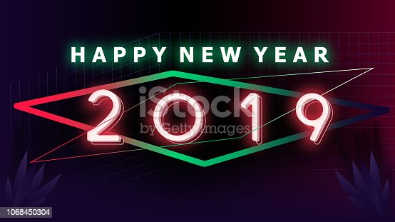 istock Happy new year 2019 Visual colorful neon glowing ligth text and number with blurry gradient blackground illustations 1068450304