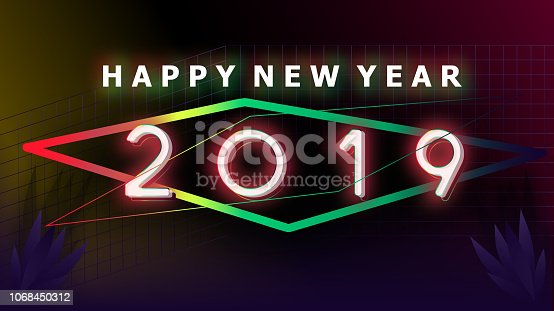istock Happy new year 2019 Visual colorful neon glowing ligth text and number with blurry gradient blackground illustations 1068450312