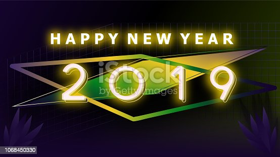 istock Happy new year 2019 Visual colorful neon glowing ligth text and number with blurry gradient blackground illustations 1068450330