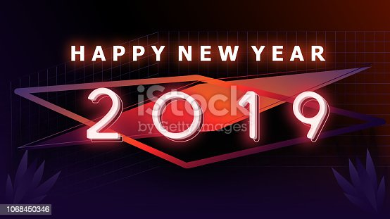 istock Happy new year 2019 Visual colorful neon glowing ligth text and number with blurry gradient blackground illustations 1068450346