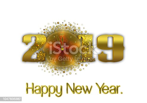 istock Happy New Year 2019, white background 1047835382