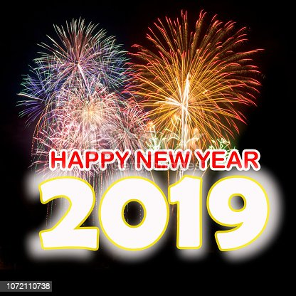 istock Happy New Year 2019 with colorful fireworks background. 1072110738