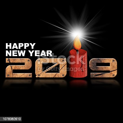 1018565666istockphoto Happy New Year 2019 - Wooden Numbers and Candle 1078382610