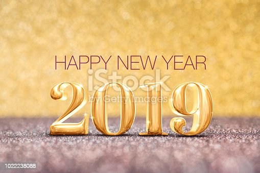 istock happy new year 2019 year number ( 3d rendering ) at sparkling golden and red copper glitter floor studio background ,Holiday celebration Greeting card. 1022238088