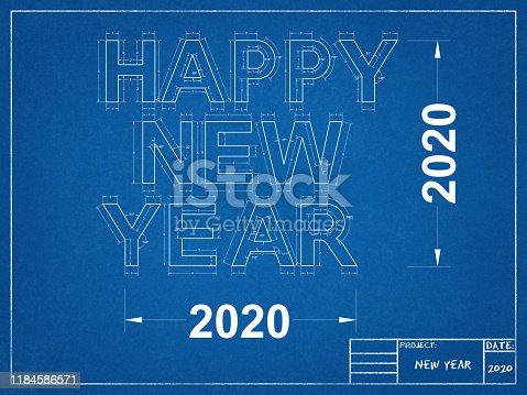 istock Happy New year 2020 - Blueprint 1184586571