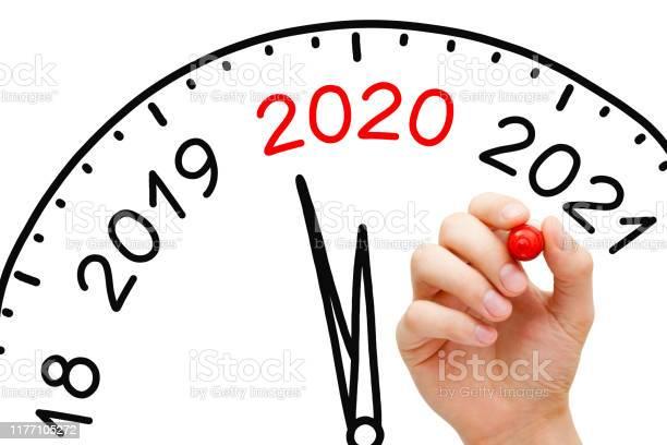 Happy New Year 2020 Clock Concept