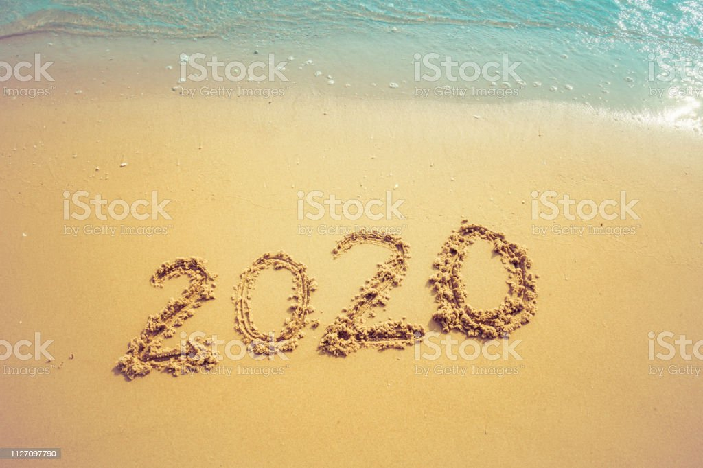 Happy New Year 2020 Concept 2020 Number Lettering On The Sea