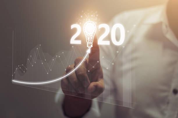 mutlu yıllar 2020 konsepti - diyagram stok fotoğraflar ve resimler