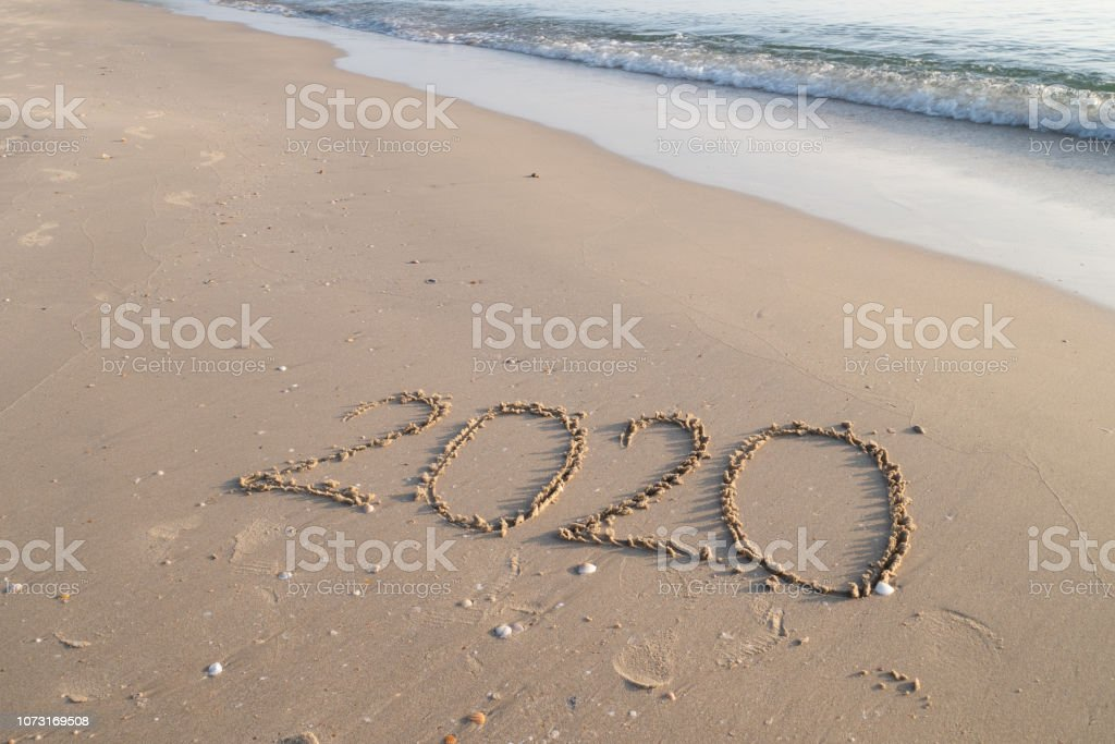 Happy New Year 2020 Concept With Sand Letter On Beach Copy