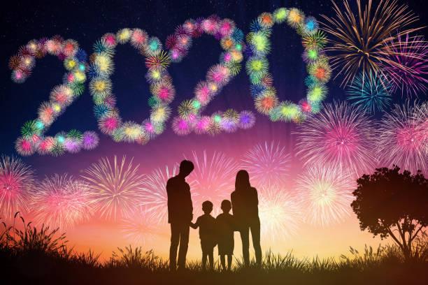 happy new year 2020 concepts. family watching fireworks  on hill - family 4th of july zdjęcia i obrazy z banku zdjęć