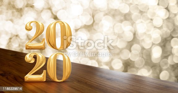istock Happy new year 2020 gold glossy (3d rendering ) on angle wood table with sparkling gold bokeh wall,banner for display of product for holiday promotion advertise 1185339514