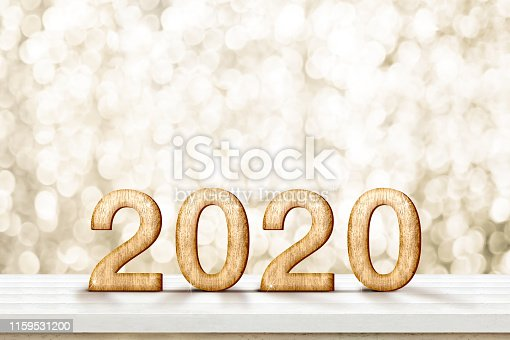 istock Happy new year 2020 gold glossy (3d rendering ) on white wood table with sparkling gold bokeh wall,banner for display or montage of product for holiday promotion and advertise for online content. 1159531200