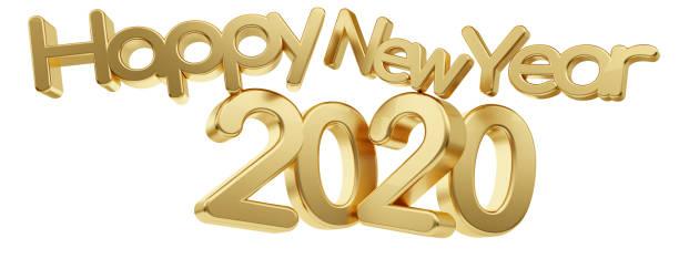glückliches neues Jahr 2020 goldene Fett Buchstaben 3d-Illustration – Foto