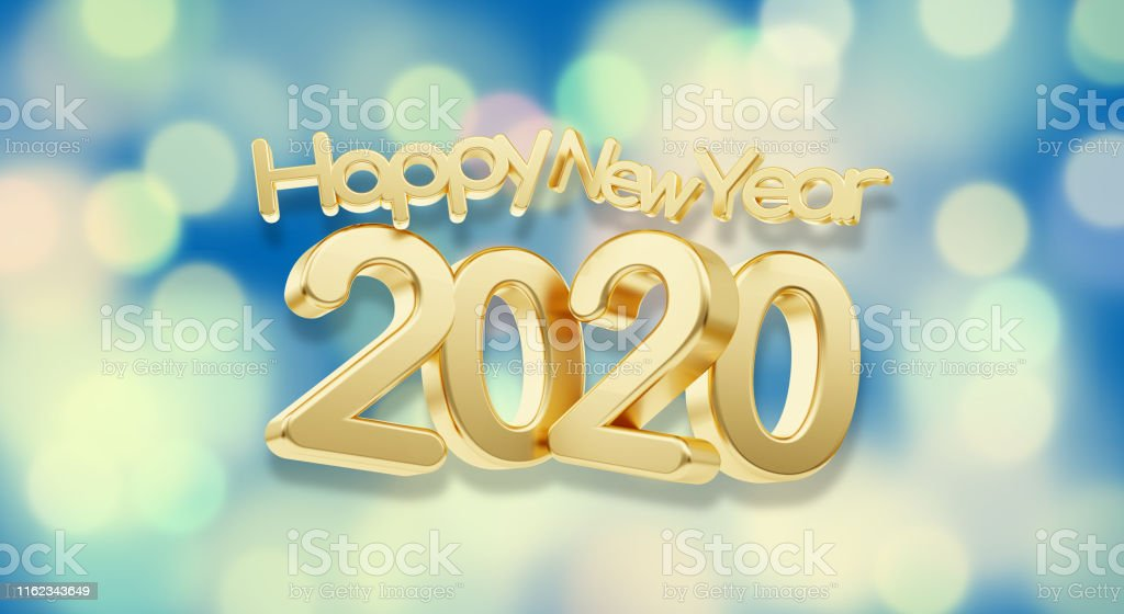 happy new year 2020 golden bold letters creative background...