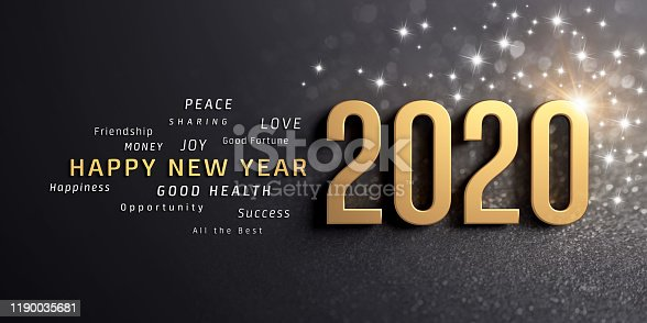 Happy New Year greetings and 2020 date number, colored in gold, on a festive black background, with glitters and stars - 3D illustration