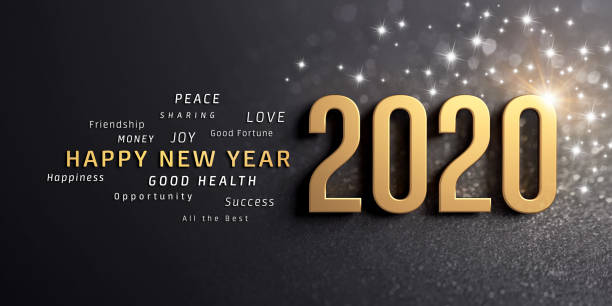 Happy New Year 2020 Greeting Card Happy New Year greetings and 2020 date number, colored in gold, on a festive black background, with glitters and stars - 3D illustration new year's eve stock pictures, royalty-free photos & images