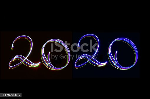 Light painting 2020 Numbers with black background. Coloured lights used to write numbers. Happy New Year Celebrations