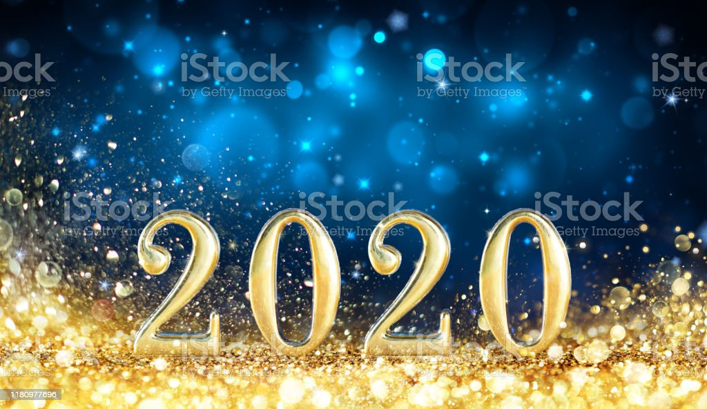 Happy New Year 2020 Metal Number With Golden Glitter In