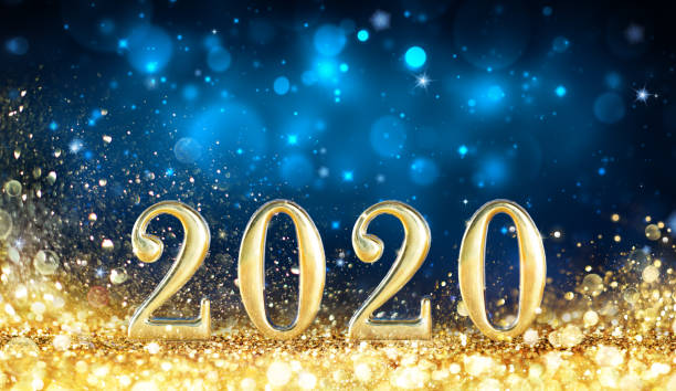 Happy New Year 2020 - Metal Number With Golden Glitter In Shiny Night Happy New Year 2020 - Metal Number With Golden Glitter In Shiny Night new year's eve stock pictures, royalty-free photos & images