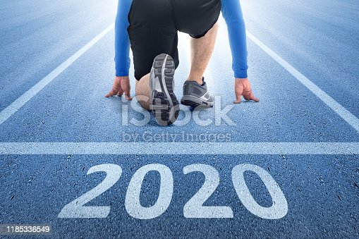 Runner man ready to run on the 2020 line. Happy New Year 2020