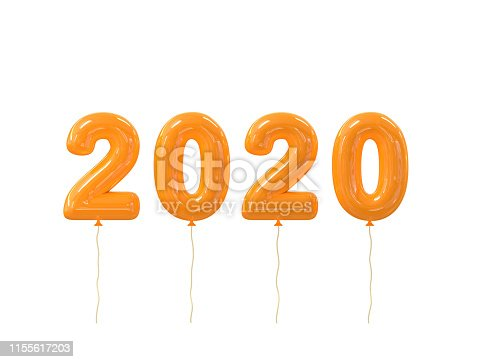 istock Happy New year 2020 realistic orange balloons numbers isolated on white background. 3D rendering. Christmas celebration decoration design element for poster, banner, sale promotion or marketing 1155617203
