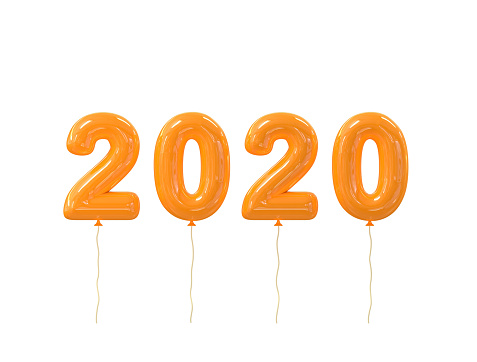 Happy New year 2020 realistic orange balloons numbers isolated on white background. 3D rendering. Christmas celebration decoration design element for poster, banner, sale promotion or marketing