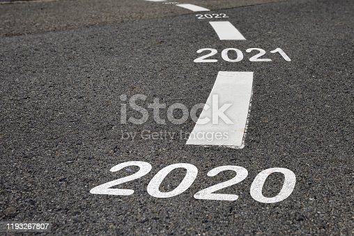 istock Happy new year 2020 to 2022 and road to success concept 1193267807