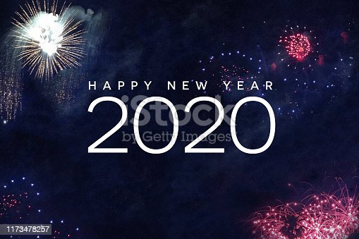 istock Happy New Year 2020 Typography with Fireworks 1173478257