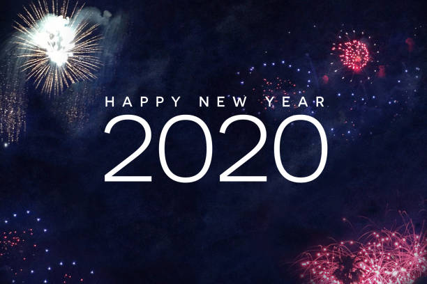 Happy New Year 2020 Typography with Fireworks Happy New Year 2020 Typography with Fireworks in Night Sky new year's eve stock pictures, royalty-free photos & images