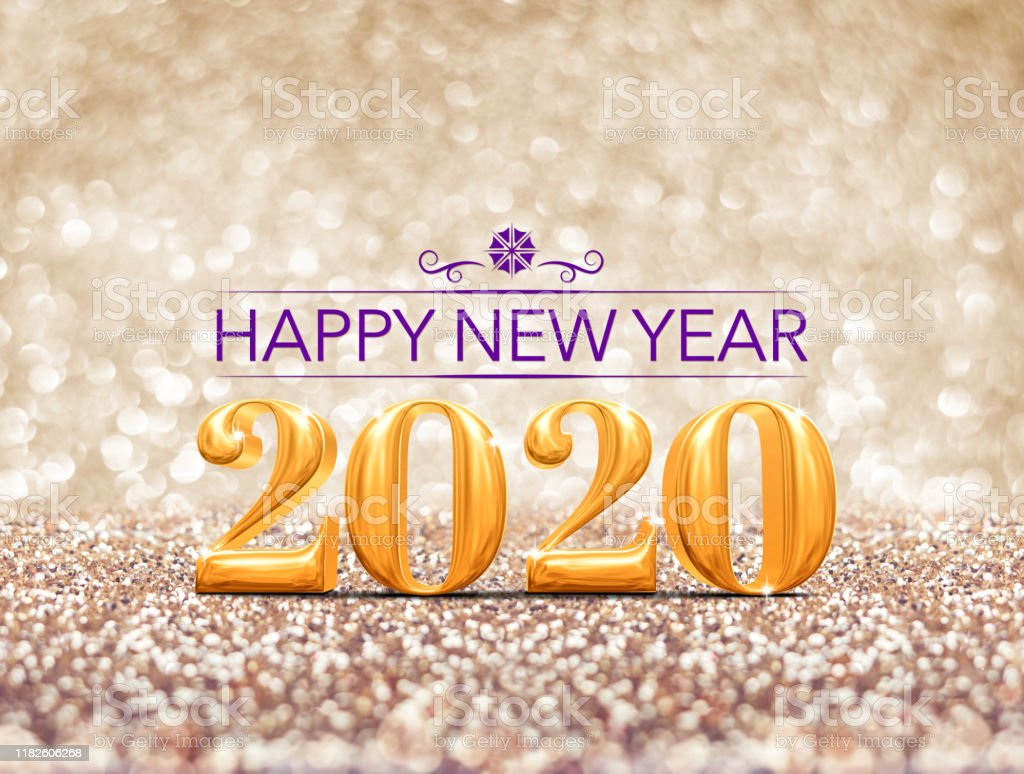 Happy New Year 2020 Year Gold Number At Sparkling Golden