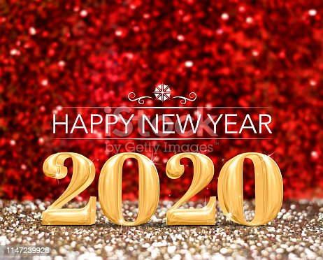 happy new year 2020 year number ( 3d rendering ) at sparkling gold and red glitter studio background ,Holiday Greeting card.copy space for add content.