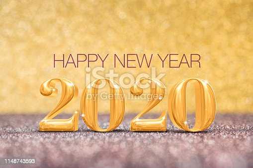 istock happy new year 2020 year number ( 3d rendering ) at sparkling golden and red copper glitter floor studio background ,Holiday celebration Greeting card 1148743593