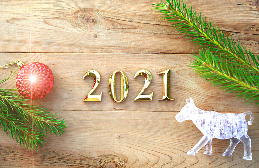 Happy New Year 2021 Bull Glass Metal Symbol Of The Year On ...