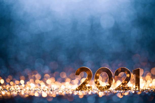 Happy New Year 2021 - Christmas Gold Blue Glitter stock photo